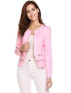 Chaqueta elegante para mujer rosada